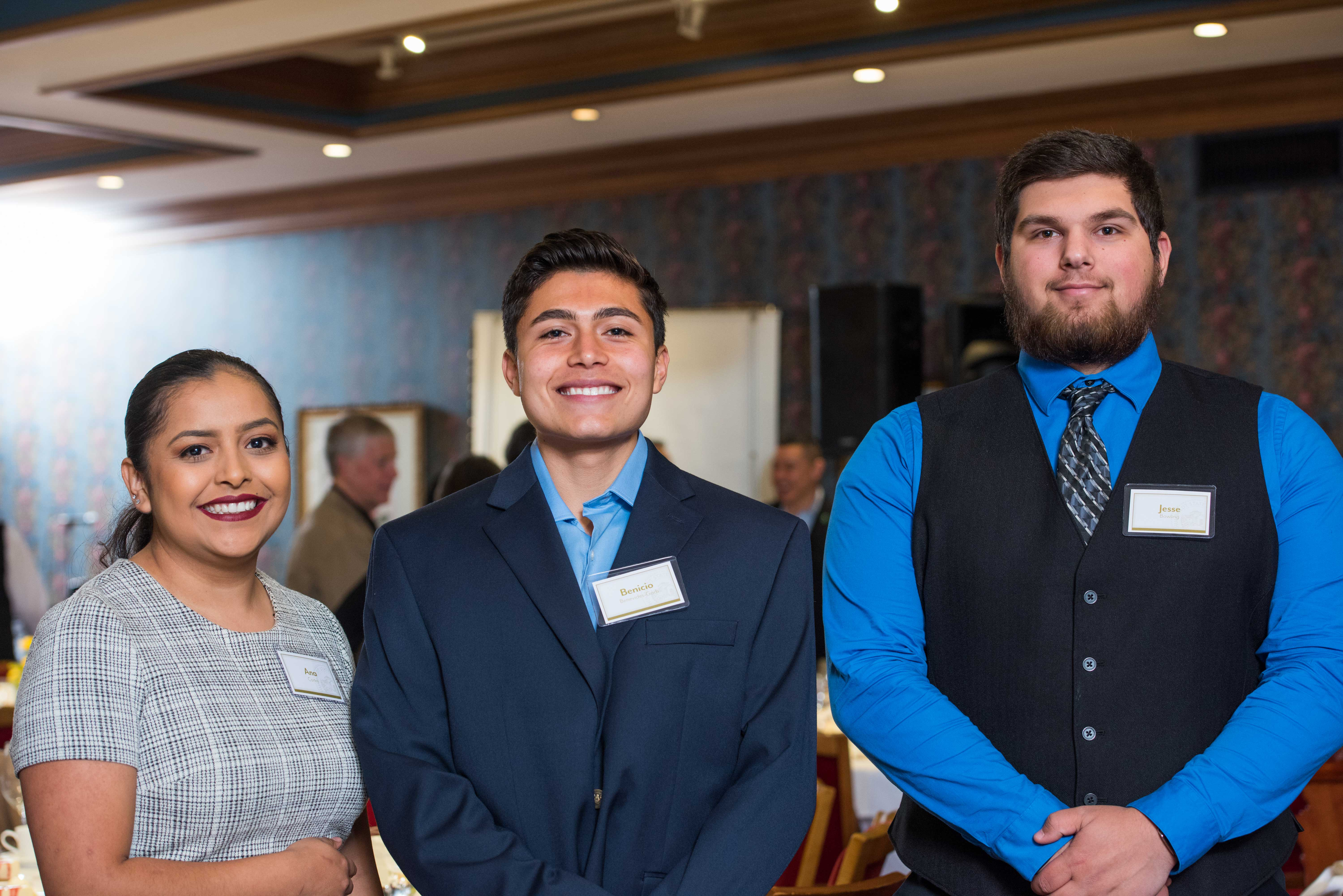 At an event sponsored by the Humboldt State University Foundation, HSU students Ana Cortes (left), Benicio Benevides-Garb (center), and Jesse Bowling (right) shared how scholarships supported their college dreams.