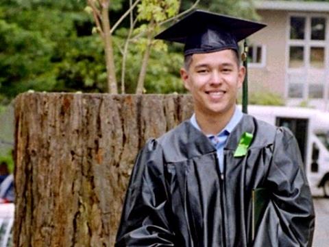 Braden Hogan in his cap and gown at his HSU graduation.