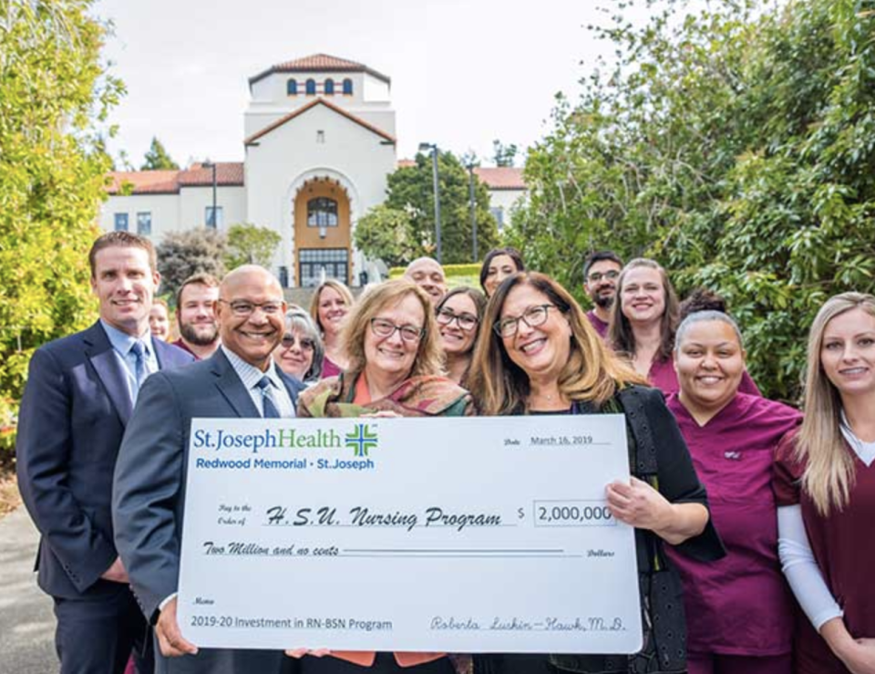 Standing with nursing students are (from left to right) State Senator Mike McGuire; College of the Redwoods President Keith Flamer; Humboldt State University President Lisa Rossbacher; and Roberta Luskin-Hawk, M.D., St. Joseph Health, Humboldt County.